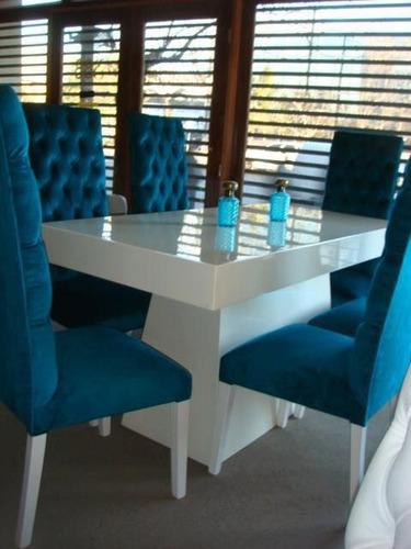 Sillas estilo capitone moderna tapizadas comedor for Comedores modernos para 4 personas