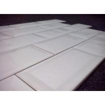 Cerámica 7,5 X 15 Cm Biselada Subway Blanca Importada