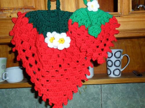 Crochet Agarraderas Para La Cocina Frutillas Adornos A