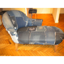 Sillon Antiguo Chess Long Tapizado De Retazos De Jeans !!!!