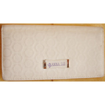 Billetera Anna Sui Color Blanco 10x19x3 Usado M/b Estado