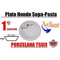 Plato Hondo Rojo Miro Porcelana Tsuji Pasta Sopa Linea 469