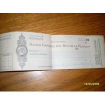 Chequera Antigua Bco. Español Del R. De La Plata Ltdo.