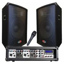 Combo Consola Potenciada Con Usb + 2 Bafles 300w + Microfono