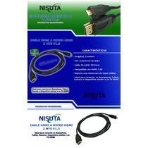 Cable Hdmi A Micro Hdmi 2 Mts V1.3 Nisuta