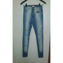 Pantalon Jeans Celeste Gastado Rotoelastizado