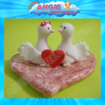 Palomas Enamoradas Corazon Amor Adorno Torta Porcelana Fria