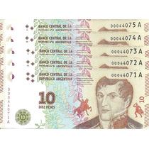 Lote 5 Billetes Argentina $10 Nuevo Dis Sin Circular Palermo