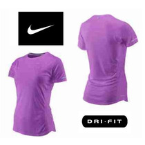 Remera Nike Dri Fit Manga Corta Violeta Mujer Talles Orig