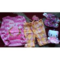 Lote 6. Remera Barbie + Ojotas Kitty + Peluche Kitty + Short