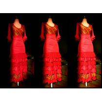 Traje Flamenco Falda 7 Volantes + Torso C/mangas Al Codo