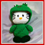 Muñeca Kitty Tejida Al Crochet- Disfraz Sapo Pepe
