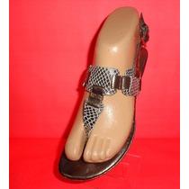 Sandalias Ojotas Chatitas Nº 37 Cuero Gris Y Plateado