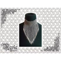 Collar Tejido Medieval Y Cadenas Artesanal