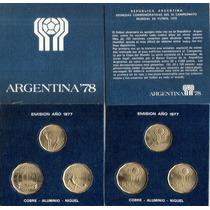 Monedas Mundial 78 Blister De 3 C/u-cobre,aluminio,niquel