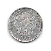 Moneda Plata 10 Centavos Patacon Año 1882 Excelente