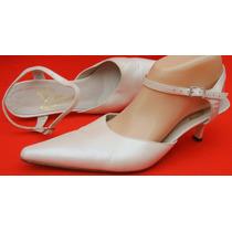 Zapatos Baile Tango Novia 38 Cuero Blanco Perlado (ana.mar)