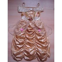 Vestido Disfraz Nena Princesa Bella Disney Importado 4-6