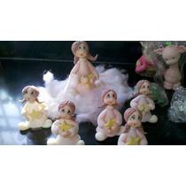 Centro De Torta Angel Nena Bautismo Comunion Porcelana Fria