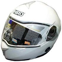 Casco Rebatible Shiro Blanco Doble Visor Negro Interno