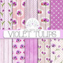 Kit Imprimible Violet Tulips 10 Fondos.- *promo*
