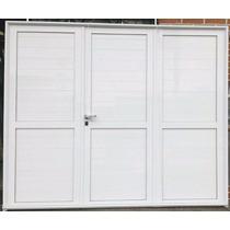Porton De Aluminio Blanco De Abrir 3 Hojas 2.40x200 Ciego