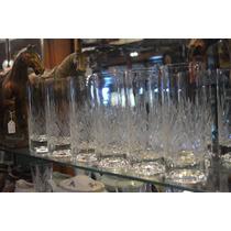 Hermoso Juego De 6 Vasos Trago Largo Cristal Tallado