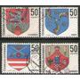 Checoslovaquia Serie X 4 Sellos Usados Escudos De Ciudades