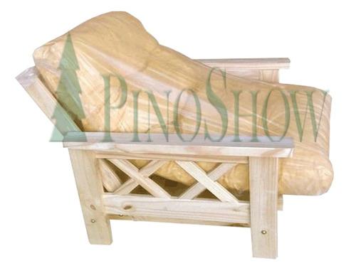 Futon cama pino macizo 1 cuerpo colchon pinoshow 2449 for Futon cama precio
