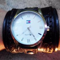 Muñequera Brazalete Pulsera De Cuero Con Reloj