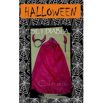 Set Disfraz Halloween Diabla Diablita Vincha Capa Fiesta