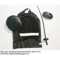 Disfraz Del Zorro Pechera Capa Antifaz Gorro Y Espada
