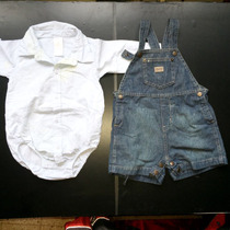 Lote Camisa Body Cheeky Y Jardinero Mini Mimo Talle 6-9 Mese