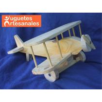 Avión De Madera Artesanal Para Niños