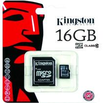 Memoria Kingston Sd 16gb Clase 10 C/adap Fotos Video Full Hd
