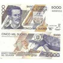 Hermoso Billete Ecuador 5000 Sucres Tortuga Año 1999