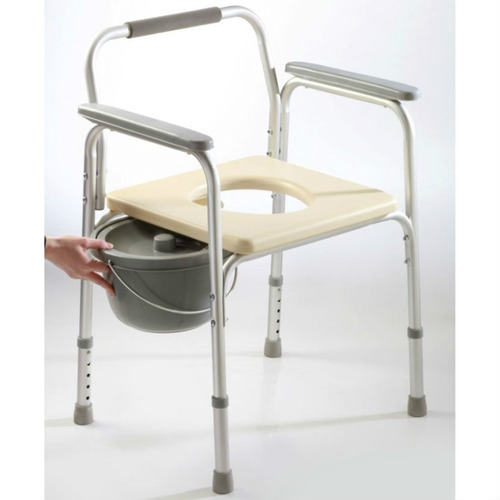 Silla ba o y ducha inodoro portatil de aluminio liviana for Sillas para inodoros