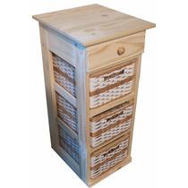 Mueble Organizador Pino Con 1 Cajon Y 3 Canastos