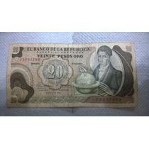 Billete Antiguo 20 Pesos Oro Colombia Enero Del Año 1969