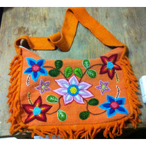 Cartera Naranja Bordada Mexicana - Morral