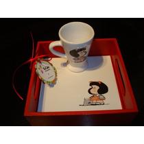 Bandeja Mafalda C/azulejo + Taza Pintados A Mano