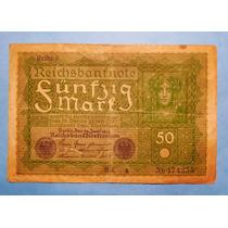 Billete Antiguo Reichsbanknote 50 Mark Alemania Circa 1920