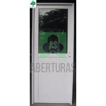 Aberturas: Puerta Aluminio Blanco Medio Vidrio 80x2,00 C/vid