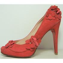 Paruolo Zapatos Boquita De Pez 36 Cuero Gamuza Rojo (ana.mar