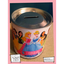 Souvenir Personalizado Alcancía Lata Evento Princesas Disney