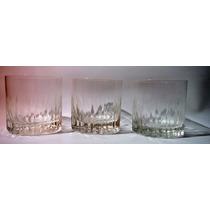 3 Vasos De Vidrio Para Whisky 9cm Diámetro X 8.5cm Art Usado