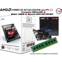 Combo De Actualización X 3 Amd A4-4000+a68hm+ddr3 4gb 1600