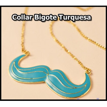Collar Colgante Bigote - Mostacho Turquesa