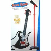 Guitarra Electrica Con Microfono De Pie Rock Band Faidy