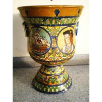Antiguo Macetero En Ceramica Decorado A Mano Estilo Talavera